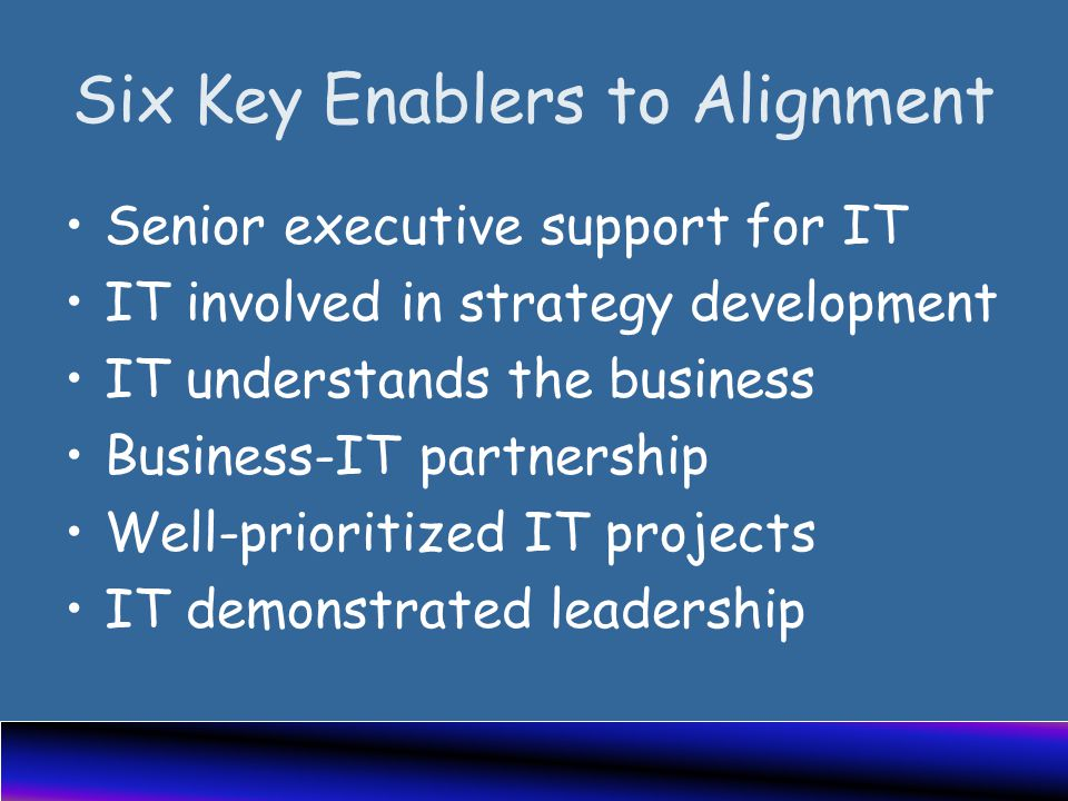 Six Key Enablers to Alignment Senior executive support for IT IT involved in strategy development IT understands the business Business-IT partnership Well-prioritized IT projects IT demonstrated leadership