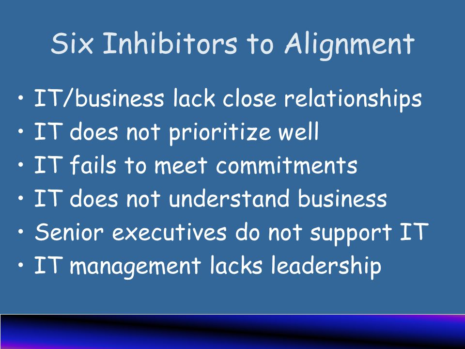Six Inhibitors to Alignment IT/business lack close relationships IT does not prioritize well IT fails to meet commitments IT does not understand business Senior executives do not support IT IT management lacks leadership