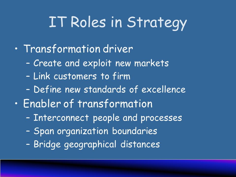 IT Roles in Strategy Transformation driver –Create and exploit new markets –Link customers to firm –Define new standards of excellence Enabler of transformation –Interconnect people and processes –Span organization boundaries –Bridge geographical distances