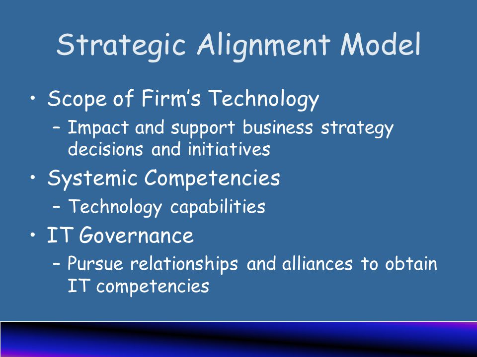 Strategic Alignment Model Scope of Firm's Technology –Impact and support business strategy decisions and initiatives Systemic Competencies –Technology capabilities IT Governance –Pursue relationships and alliances to obtain IT competencies