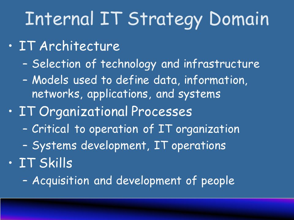 Internal IT Strategy Domain IT Architecture –Selection of technology and infrastructure –Models used to define data, information, networks, applications, and systems IT Organizational Processes –Critical to operation of IT organization –Systems development, IT operations IT Skills –Acquisition and development of people