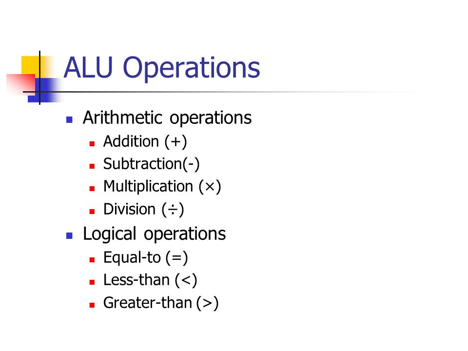 ALU Operations Arithmetic operations Addition (+) Subtraction(-) Multiplication (×) Division (÷) Logical operations Equal-to (=) Less-than (<) Greater-than (>)