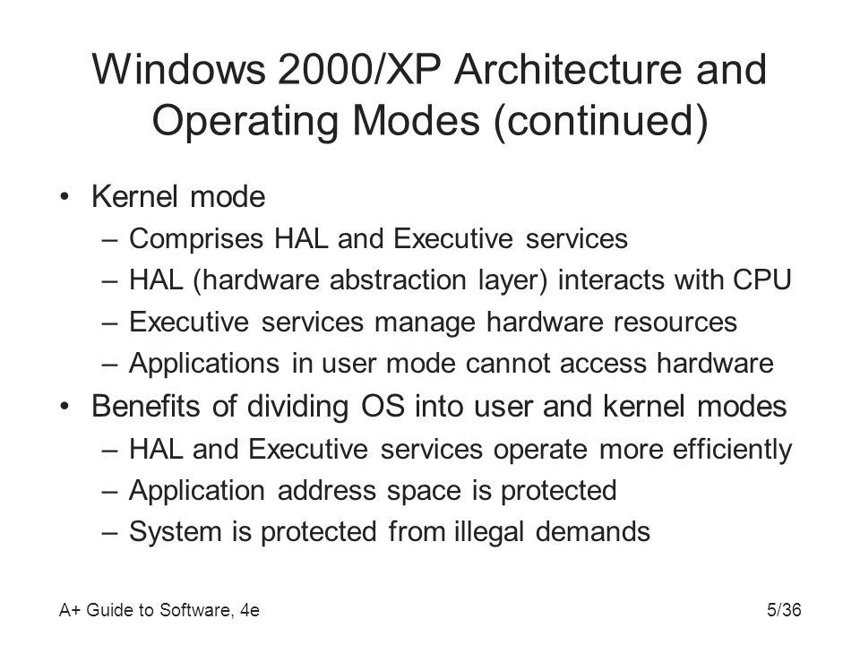 A+ Guide to Software, 4e5/36 Windows 2000/XP Architecture and Operating Modes (continued) Kernel mode –Comprises HAL and Executive services –HAL (hardware abstraction layer) interacts with CPU –Executive services manage hardware resources –Applications in user mode cannot access hardware Benefits of dividing OS into user and kernel modes –HAL and Executive services operate more efficiently –Application address space is protected –System is protected from illegal demands