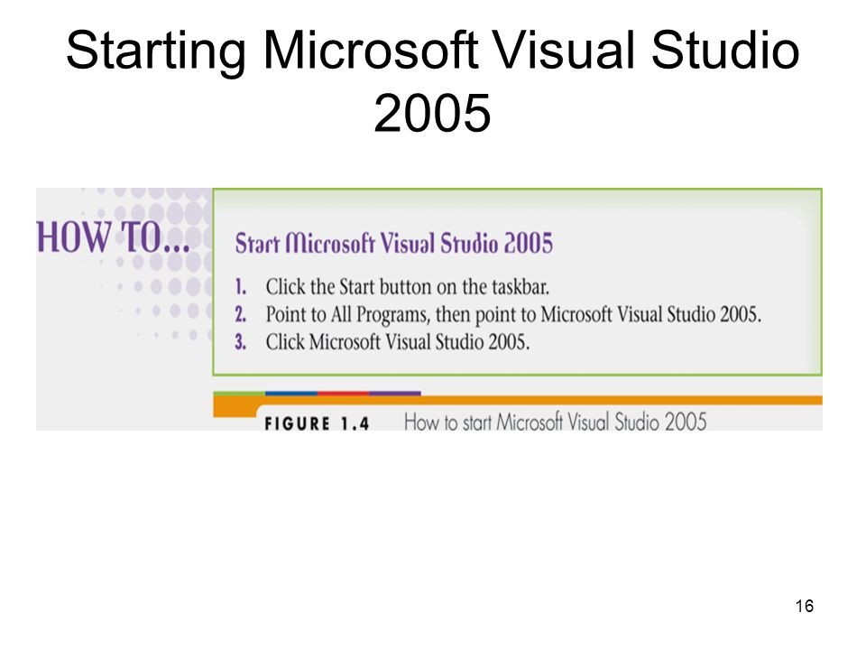 16 Starting Microsoft Visual Studio 2005