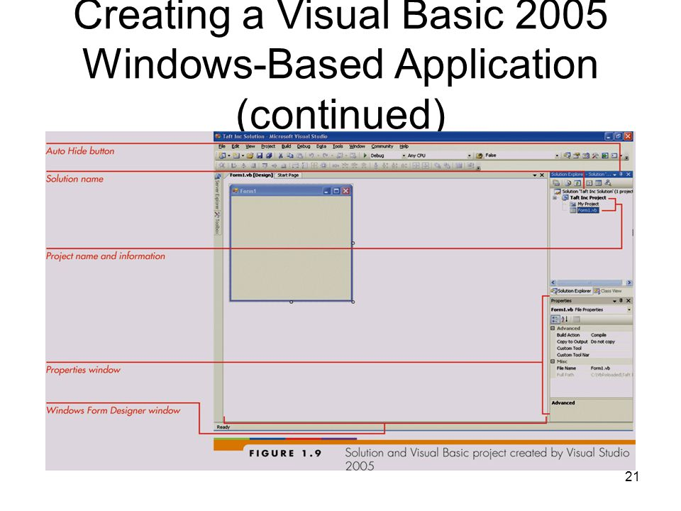 21 Creating a Visual Basic 2005 Windows-Based Application (continued)