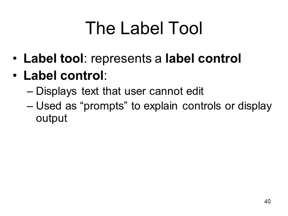 40 The Label Tool Label tool: represents a label control Label control: –Displays text that user cannot edit –Used as prompts to explain controls or display output