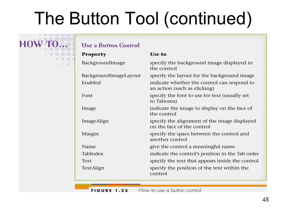 45 The Button Tool (continued)