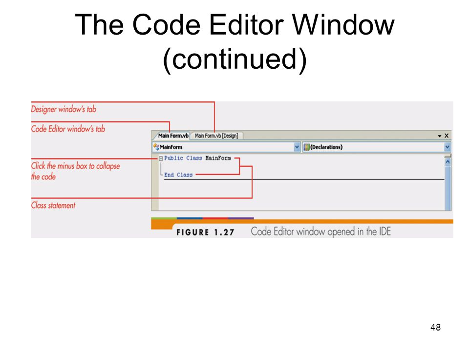 48 The Code Editor Window (continued)