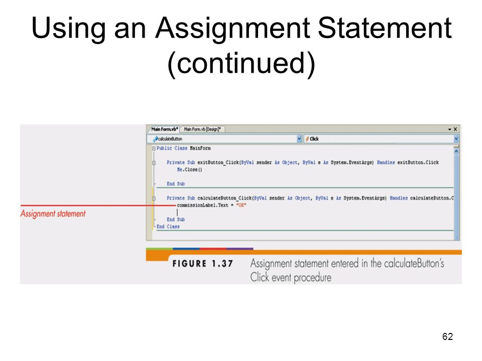 62 Using an Assignment Statement (continued)