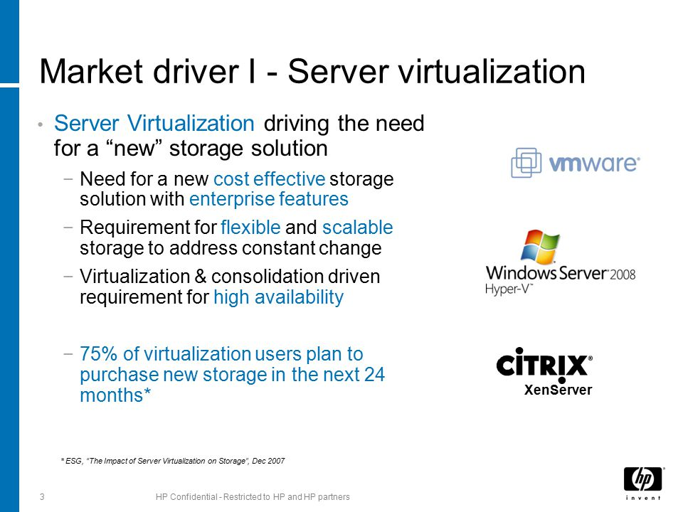 Market driver I - Server virtualization Server Virtualization driving the need for a new storage solution −Need for a new cost effective storage solution with enterprise features −Requirement for flexible and scalable storage to address constant change −Virtualization & consolidation driven requirement for high availability −75% of virtualization users plan to purchase new storage in the next 24 months* 3HP Confidential - Restricted to HP and HP partners XenServer * ESG, The Impact of Server Virtualization on Storage , Dec 2007
