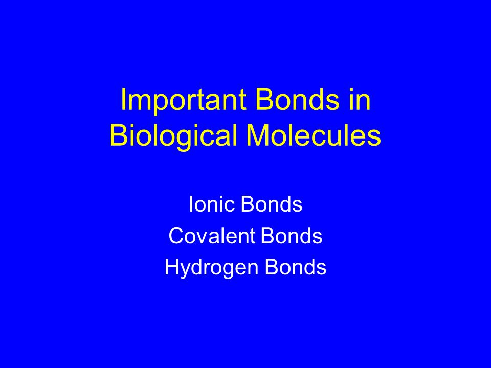 Important Bonds in Biological Molecules Ionic Bonds Covalent Bonds Hydrogen Bonds