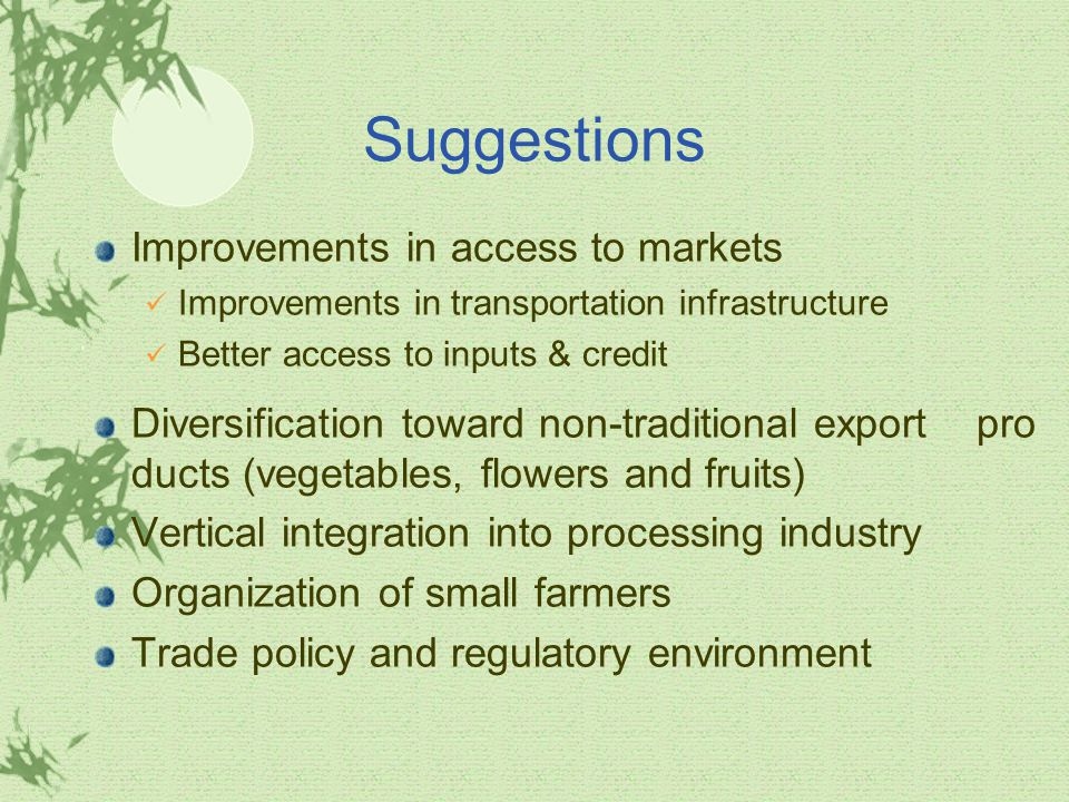 Suggestions Improvements in access to markets Improvements in transportation infrastructure Better access to inputs & credit Diversification toward non-traditional export pro ducts (vegetables, flowers and fruits) Vertical integration into processing industry Organization of small farmers Trade policy and regulatory environment