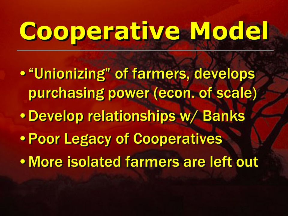 Cooperative Model Unionizing of farmers, develops purchasing power (econ.