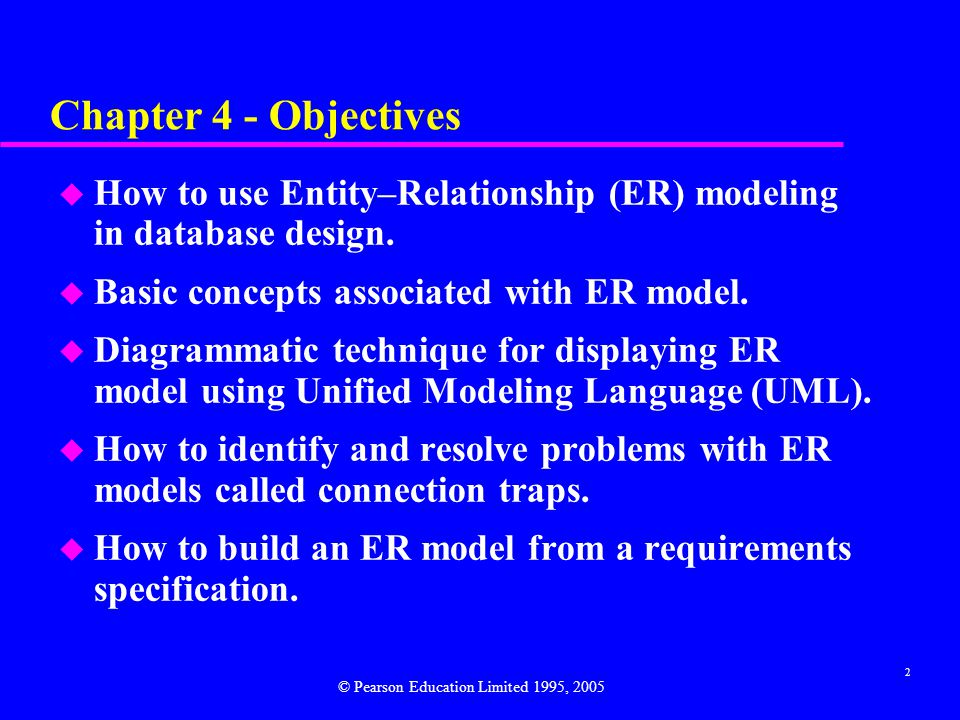 2 Chapter 4 - Objectives u How to use Entity–Relationship (ER) modeling in database design.