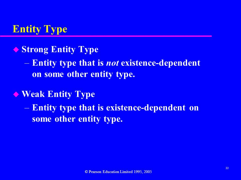 22 Entity Type u Strong Entity Type –Entity type that is not existence-dependent on some other entity type.