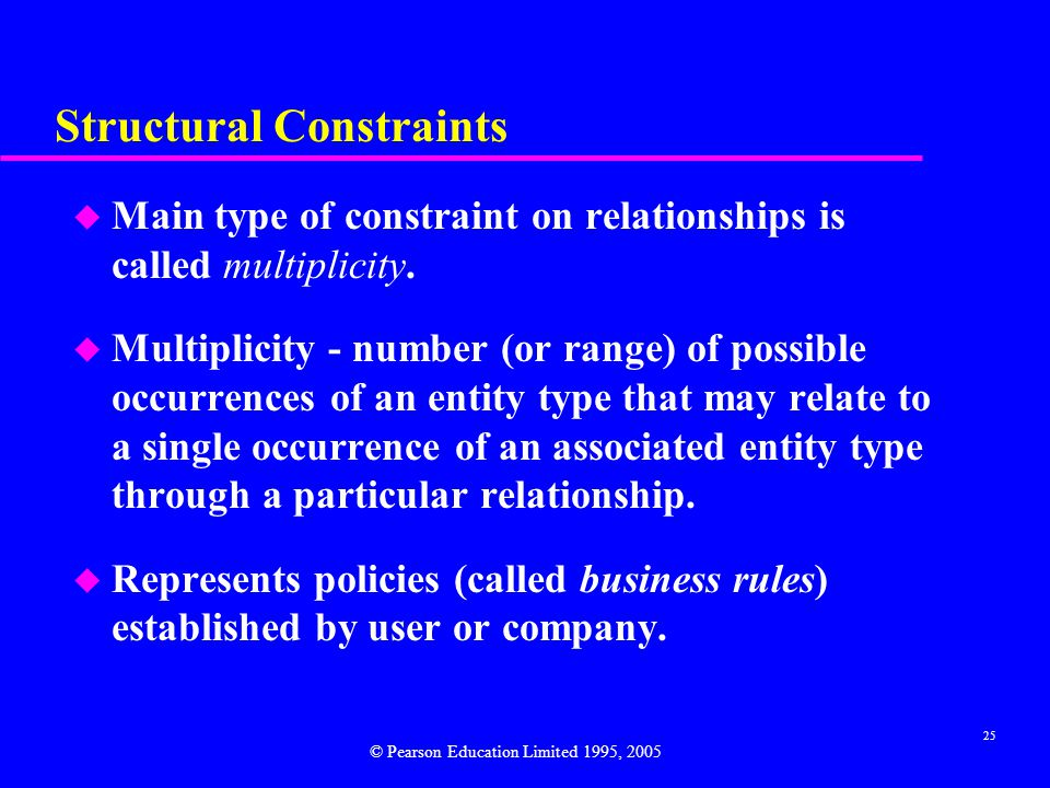 25 Structural Constraints u Main type of constraint on relationships is called multiplicity.