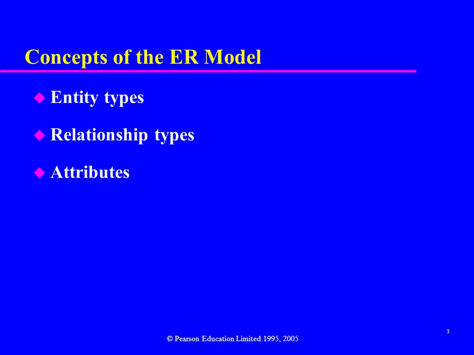 3 Concepts of the ER Model u Entity types u Relationship types u Attributes © Pearson Education Limited 1995, 2005