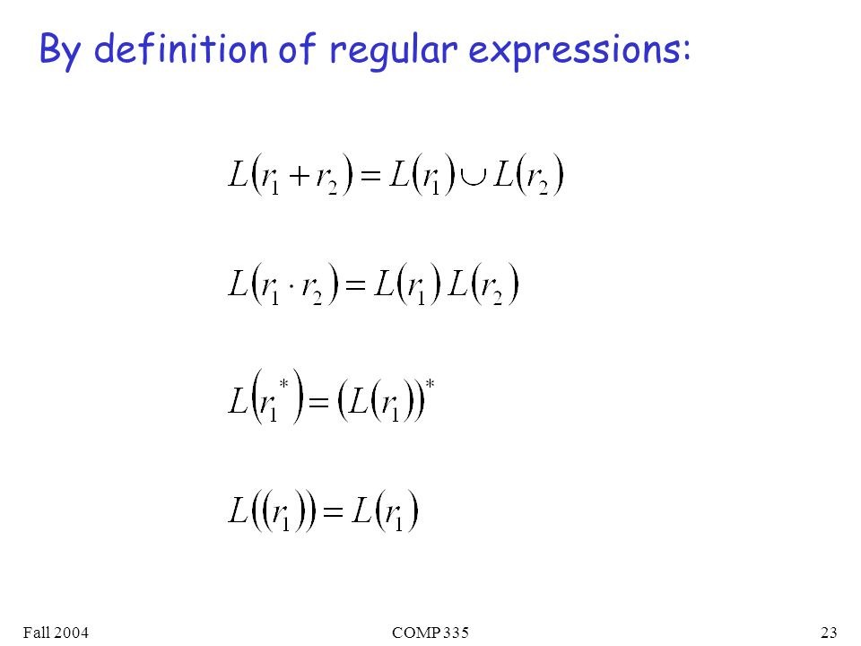 Fall 2004COMP By definition of regular expressions: