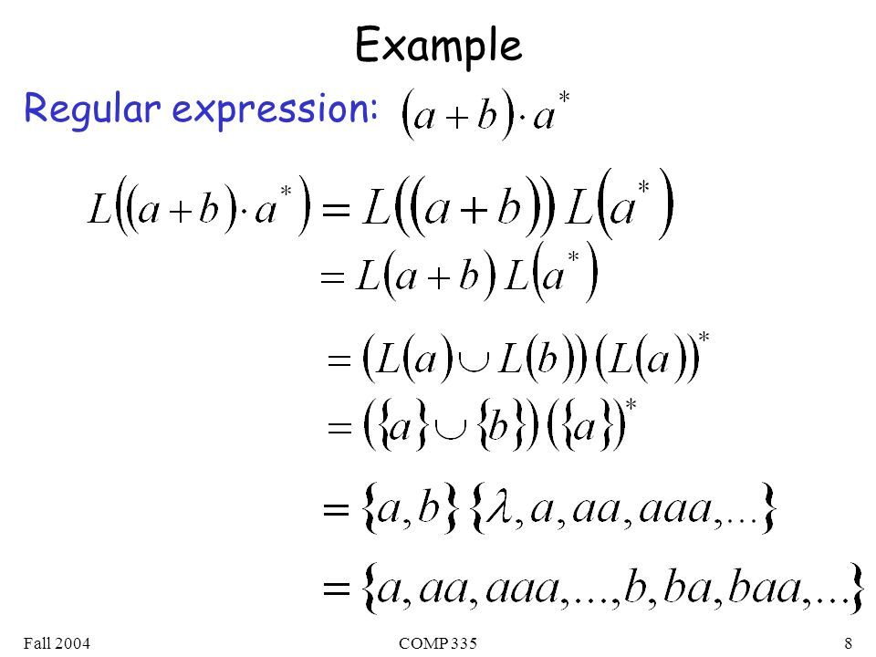 Fall 2004COMP 3358 Example Regular expression: