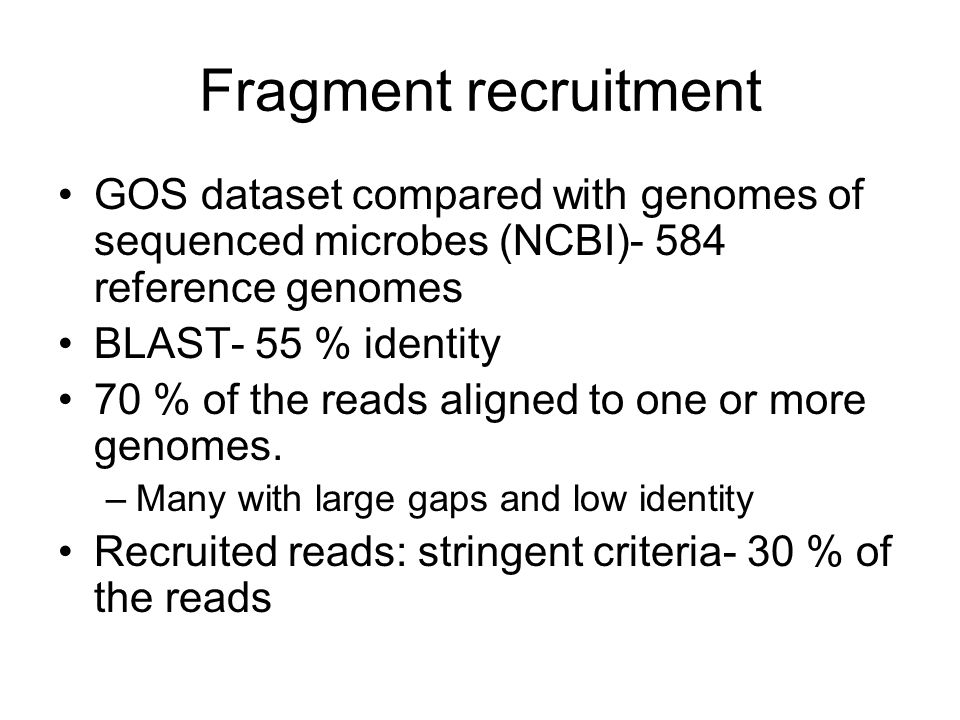 Fragment recruitment GOS dataset compared with genomes of sequenced microbes (NCBI)- 584 reference genomes BLAST- 55 % identity 70 % of the reads aligned to one or more genomes.