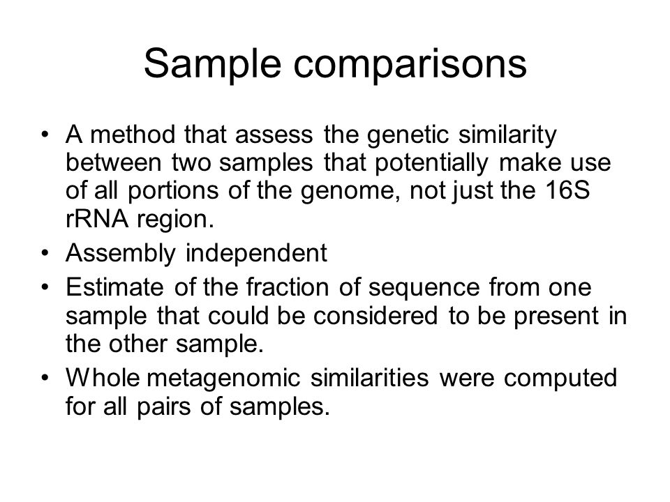 Sample comparisons A method that assess the genetic similarity between two samples that potentially make use of all portions of the genome, not just the 16S rRNA region.