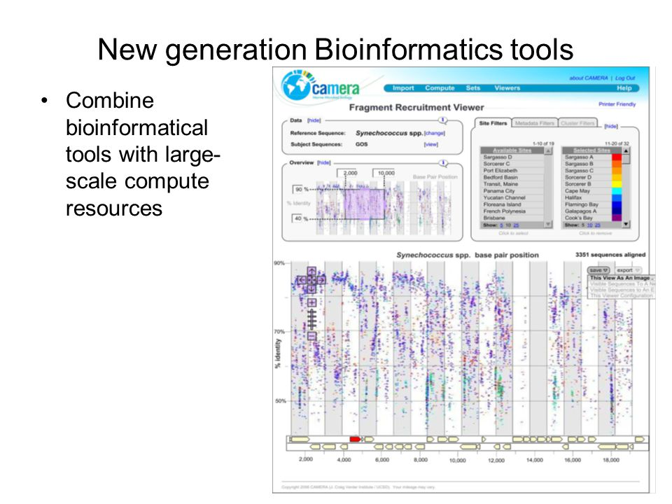 New generation Bioinformatics tools Combine bioinformatical tools with large- scale compute resources