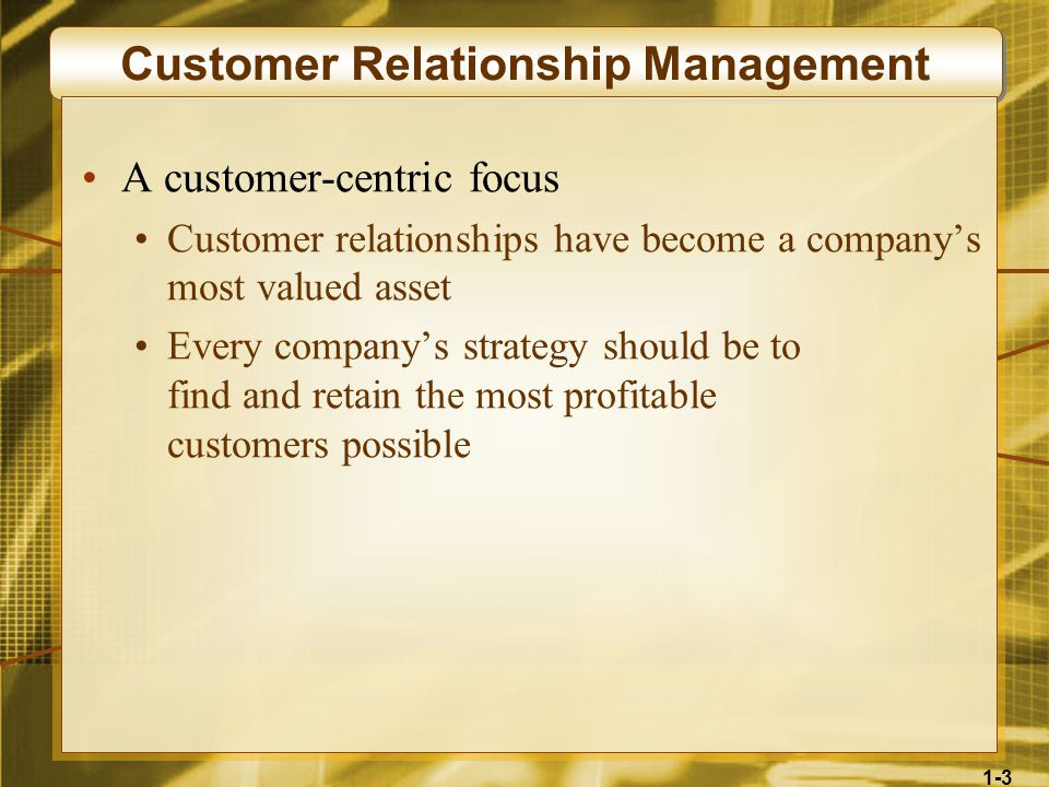1-3 Customer Relationship Management A customer-centric focus Customer relationships have become a company's most valued asset Every company's strategy should be to find and retain the most profitable customers possible