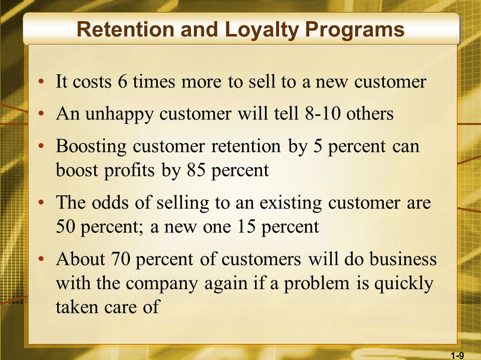 1-9 Retention and Loyalty Programs It costs 6 times more to sell to a new customer An unhappy customer will tell 8-10 others Boosting customer retention by 5 percent can boost profits by 85 percent The odds of selling to an existing customer are 50 percent; a new one 15 percent About 70 percent of customers will do business with the company again if a problem is quickly taken care of