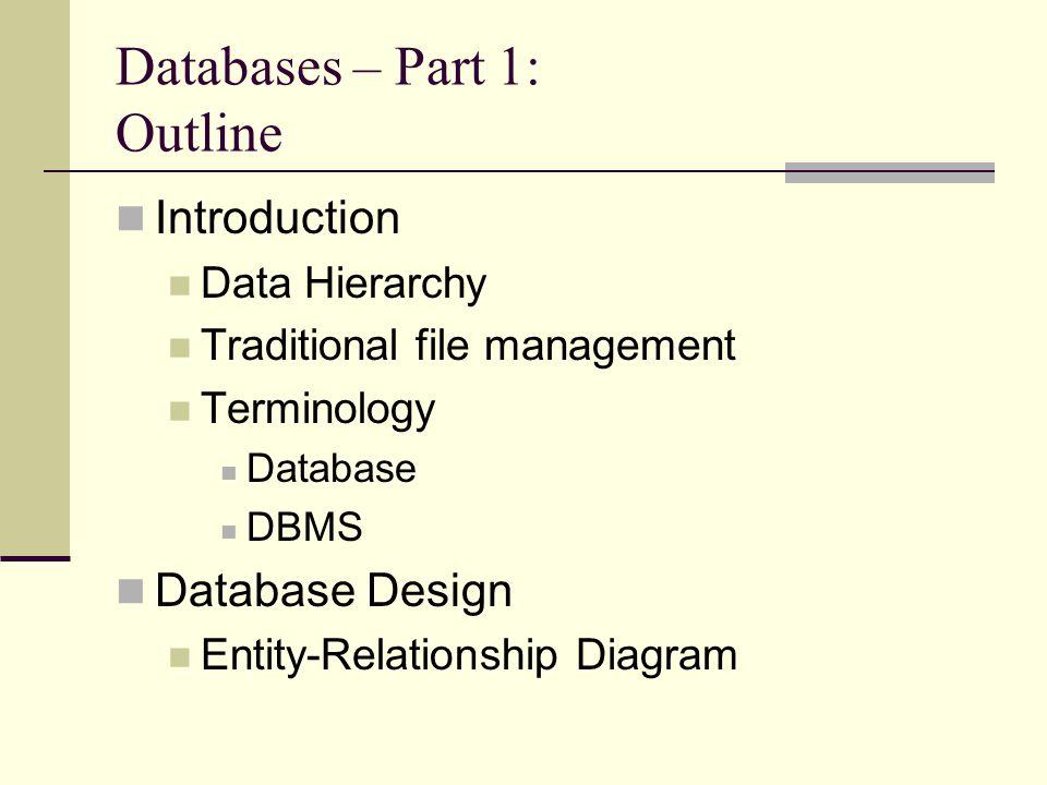 Databases dr vt raja oregon state university databases part 1 2 databases part 1 outline introduction data hierarchy traditional file management terminology database dbms database design entity relationship diagram ccuart Images