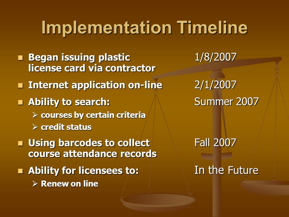 Implementation Timeline Began issuing plastic 1/8/2007 license card via contractor Began issuing plastic 1/8/2007 license card via contractor Internet application on-line 2/1/2007 Internet application on-line 2/1/2007 Ability to search: Summer 2007 Ability to search: Summer 2007  courses by certain criteria  credit status Using barcodes to collect Fall 2007 course attendance records Using barcodes to collect Fall 2007 course attendance records Ability for licensees to: In the Future Ability for licensees to: In the Future  Renew on line