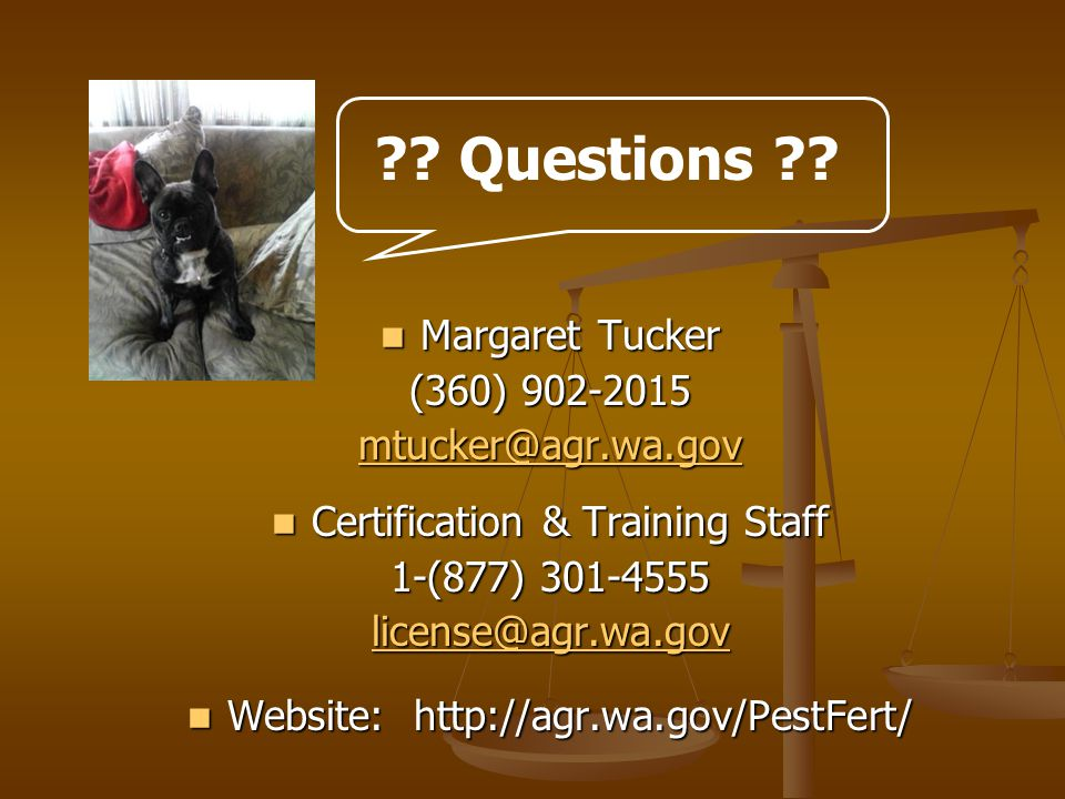 Margaret Tucker Margaret Tucker (360) Certification & Training Staff Certification & Training Staff 1-(877) Website:   Website:   .