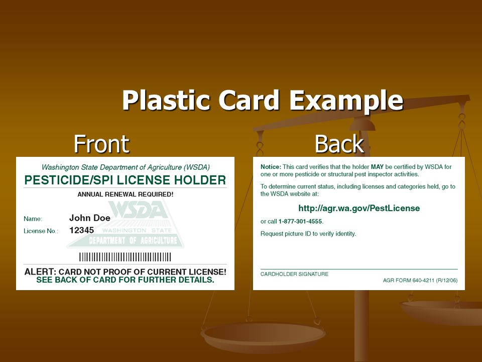 Plastic Card Example FrontBack