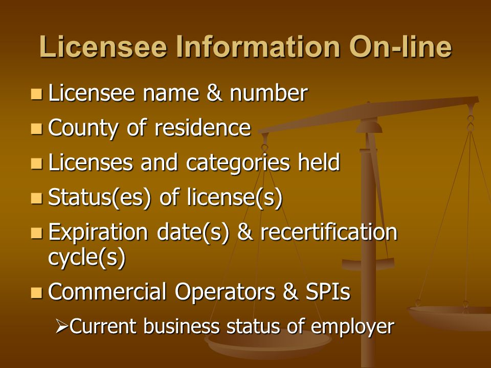 Licensee Information On-line Licensee name & number Licensee name & number County of residence County of residence Licenses and categories held Licenses and categories held Status(es) of license(s) Status(es) of license(s) Expiration date(s) & recertification cycle(s) Expiration date(s) & recertification cycle(s) Commercial Operators & SPIs Commercial Operators & SPIs  Current business status of employer