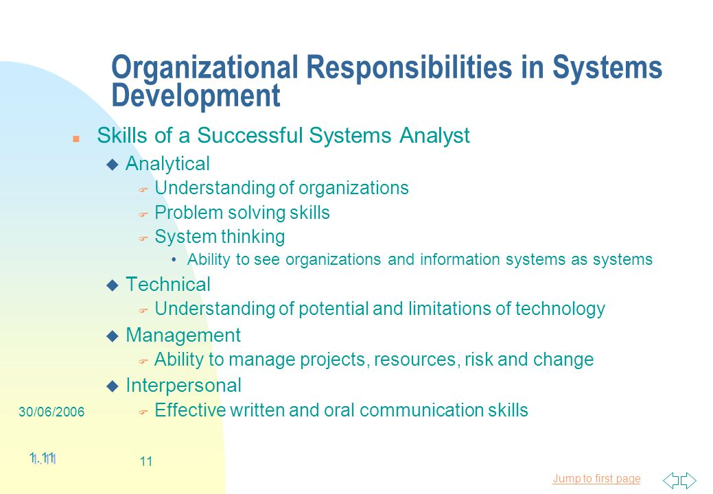 Jump to first page 30/06/ Organizational Responsibilities in Systems Development n Skills of a Successful Systems Analyst u Analytical F Understanding of organizations F Problem solving skills F System thinking Ability to see organizations and information systems as systems u Technical F Understanding of potential and limitations of technology u Management F Ability to manage projects, resources, risk and change u Interpersonal F Effective written and oral communication skills 1.11