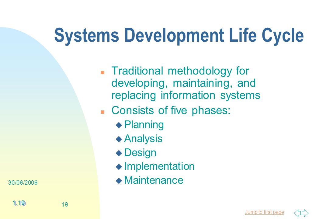 Jump to first page 30/06/ Systems Development Life Cycle n Traditional methodology for developing, maintaining, and replacing information systems n Consists of five phases: u Planning u Analysis u Design u Implementation u Maintenance 1.19