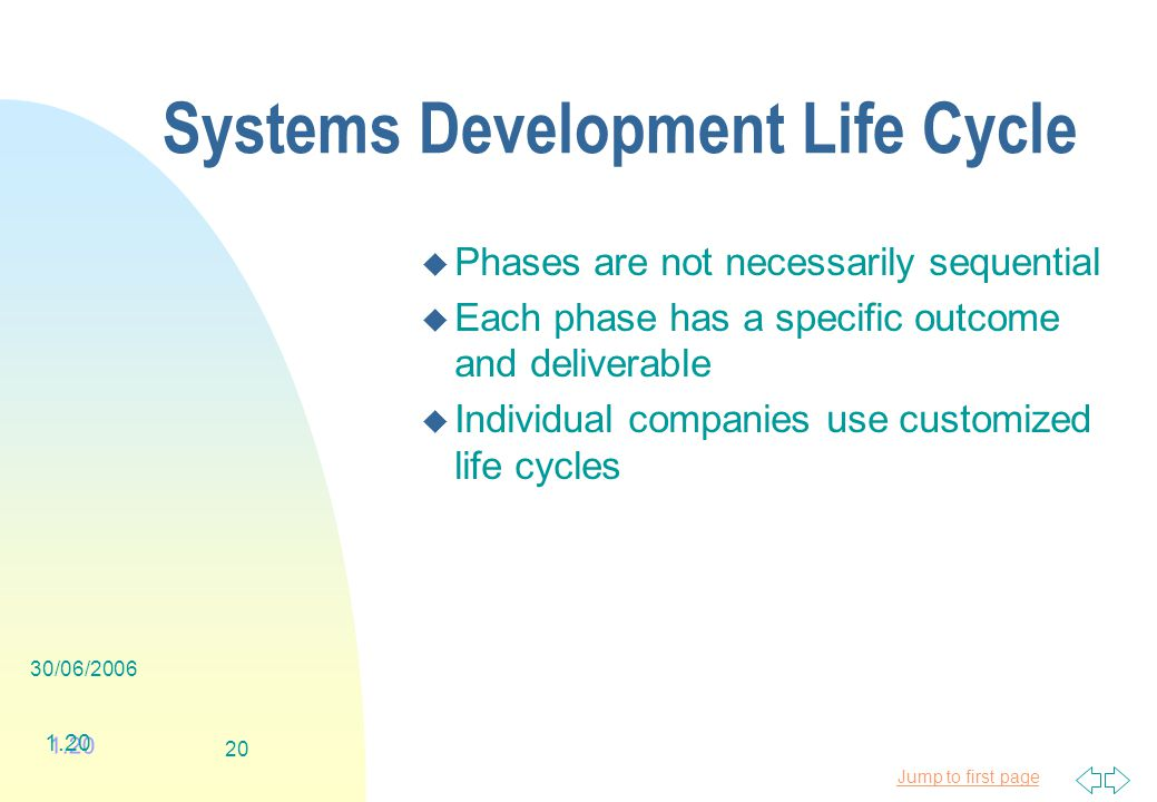 Jump to first page 30/06/ Systems Development Life Cycle u Phases are not necessarily sequential u Each phase has a specific outcome and deliverable u Individual companies use customized life cycles 1.20