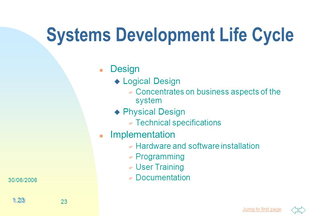 Jump to first page 30/06/ Systems Development Life Cycle n Design u Logical Design F Concentrates on business aspects of the system u Physical Design F Technical specifications n Implementation F Hardware and software installation F Programming F User Training F Documentation 1.23
