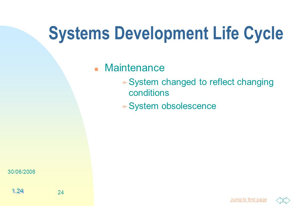 Jump to first page 30/06/ Systems Development Life Cycle n Maintenance F System changed to reflect changing conditions F System obsolescence 1.24