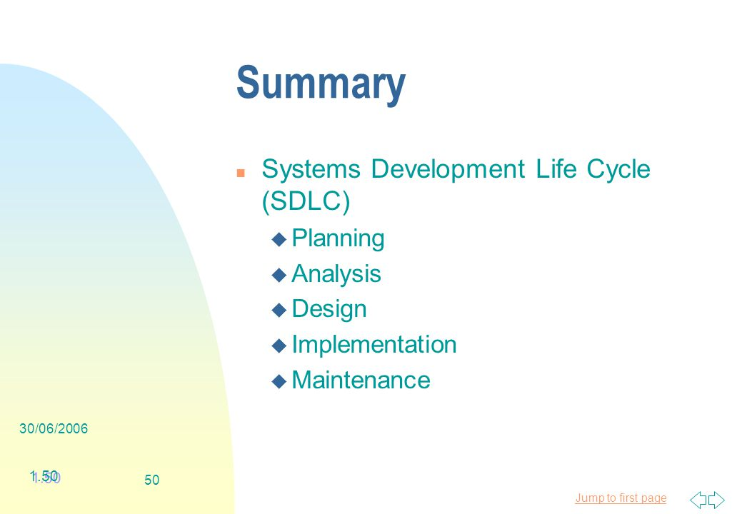 Jump to first page 30/06/ Summary n Systems Development Life Cycle (SDLC) u Planning u Analysis u Design u Implementation u Maintenance 1.50