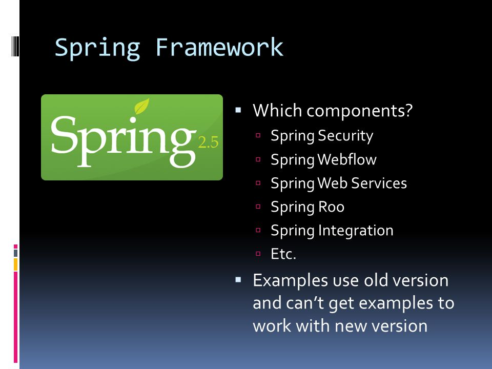 Spring Framework  Which components.