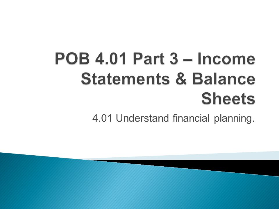 4.01 Understand financial planning.