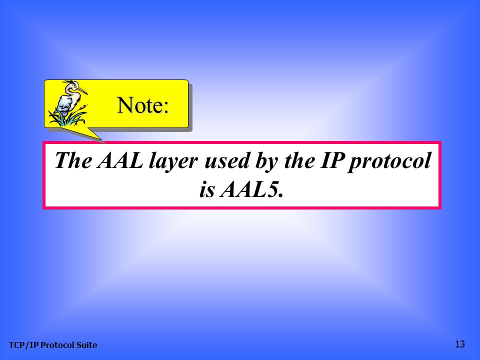 TCP/IP Protocol Suite 13 The AAL layer used by the IP protocol is AAL5. Note: