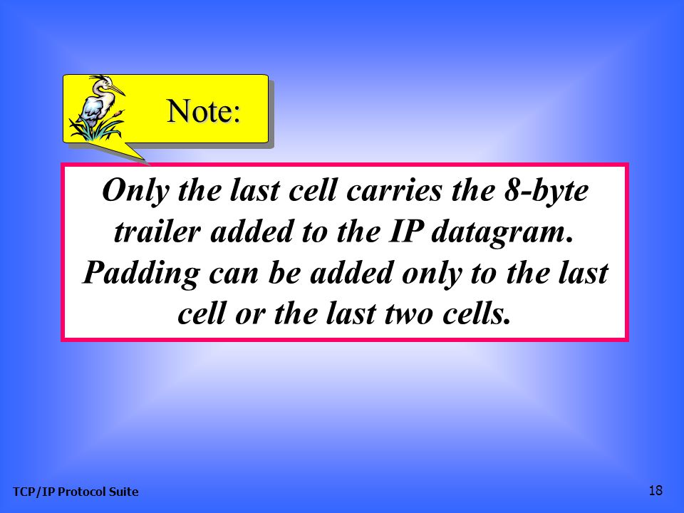 TCP/IP Protocol Suite 18 Only the last cell carries the 8-byte trailer added to the IP datagram.