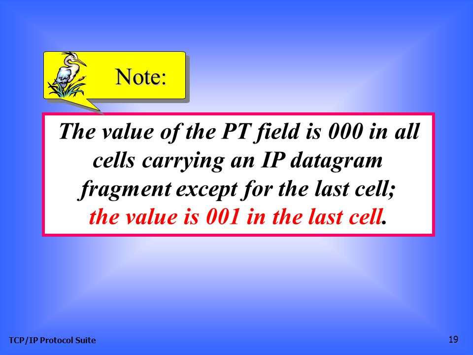 TCP/IP Protocol Suite 19 The value of the PT field is 000 in all cells carrying an IP datagram fragment except for the last cell; the value is 001 in the last cell.