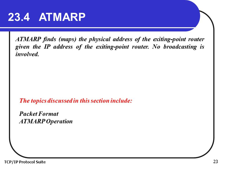 TCP/IP Protocol Suite ATMARP ATMARP finds (maps) the physical address of the exiting-point router given the IP address of the exiting-point router.