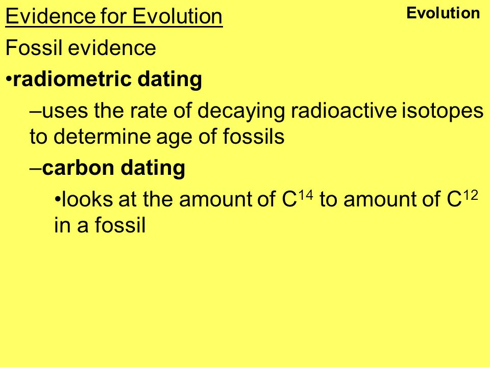 Radioactive dating evidence of evolution