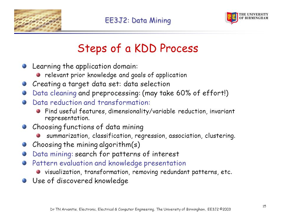 EE3J2: Data Mining Dr TN Arvanitis, Electronic, Electrical & Computer Engineering, The University of Birmingham, EE3J2 © Steps of a KDD Process Learning the application domain: relevant prior knowledge and goals of application Creating a target data set: data selection Data cleaning and preprocessing: (may take 60% of effort!) Data reduction and transformation: Find useful features, dimensionality/variable reduction, invariant representation.