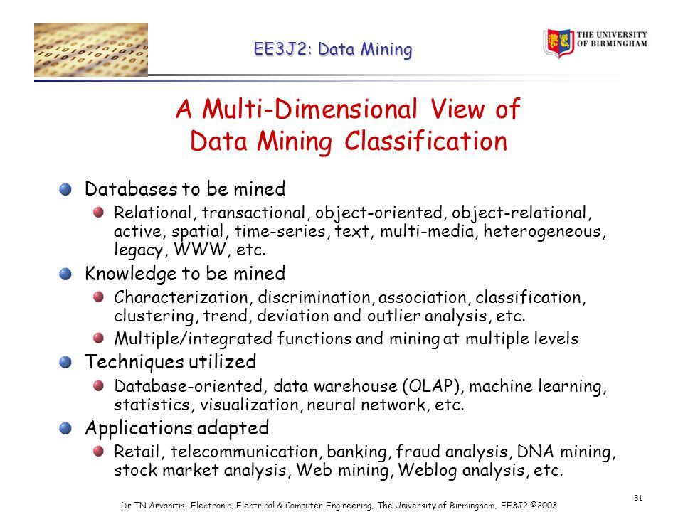 EE3J2: Data Mining Dr TN Arvanitis, Electronic, Electrical & Computer Engineering, The University of Birmingham, EE3J2 © A Multi-Dimensional View of Data Mining Classification Databases to be mined Relational, transactional, object-oriented, object-relational, active, spatial, time-series, text, multi-media, heterogeneous, legacy, WWW, etc.