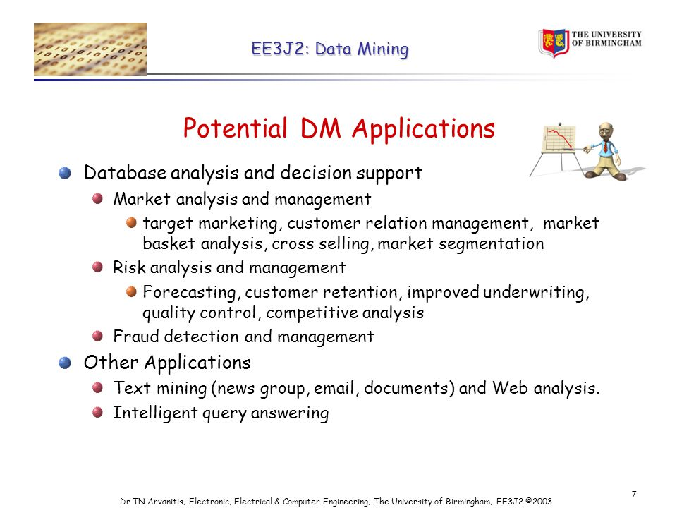 EE3J2: Data Mining Dr TN Arvanitis, Electronic, Electrical & Computer Engineering, The University of Birmingham, EE3J2 © Potential DM Applications Database analysis and decision support Market analysis and management target marketing, customer relation management, market basket analysis, cross selling, market segmentation Risk analysis and management Forecasting, customer retention, improved underwriting, quality control, competitive analysis Fraud detection and management Other Applications Text mining (news group,  , documents) and Web analysis.