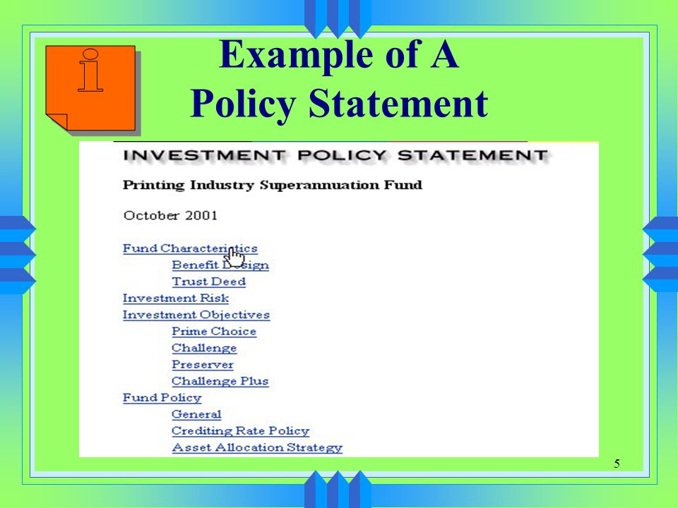 1 Chapter 4 Investment Policy Portfolio Construction Management